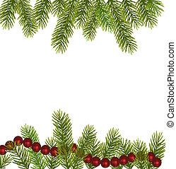 vector, árbol, navidad, branches.