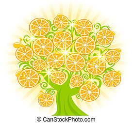 vector, árbol, oranges., ilustración, rebanadas