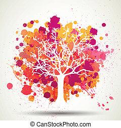 vector, árbol, salpicaduras