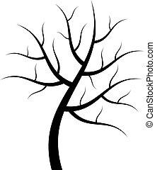 vector, árbol, silueta