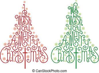 vector, árboles, navidad
