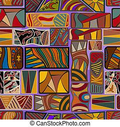 vector, étnico, texture., ilustración, seamless