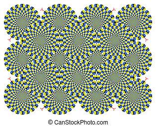 vector, óptico, plano de fondo, vuelta, ilusión, ciclo
