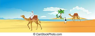 vector., καμήλες , εγκαταλείπω , περίπατος , νομάδας , καραβάνι , όαση , arabians