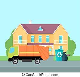 vector., ごみ, 清掃, 通り, 都市