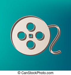 vector., アイコン, 色, 印。, バックグラウンド。, 印刷される, 海, 円, フィルム, 3d