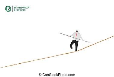 vector., ビジネス, concept., イラスト, ロープ, 背景, ビジネスマン, 白, 均衡