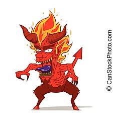 vector., モンスター, 悪魔, 赤, 特徴