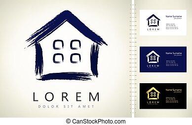 vector., ロゴ, 家, design., 財産, 実質