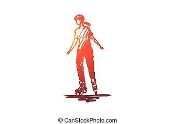 vector., 女の子, 手, スポーツ, ローラー, スケート, 隔離された, concept., 引かれる, 活動