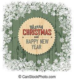 vector., 木製である, 挨拶, 背景, 緑, メリークリスマス