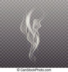 vector., 現実的, バックグラウンド。, 煙, 白, 透明