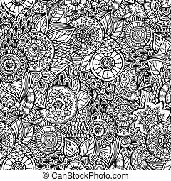 vector., 花, seamless, 背景, レトロ