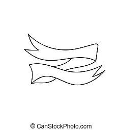 vector., 被隔离, 在懷特上, 背景。, 葡萄酒, 手, 畫, 帶子, banner., sketchy, 心不在焉地亂寫亂畫, ribbons.