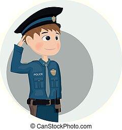 vector., 警官, character., デザイン, テンプレート, イラスト, 漫画, アイコン