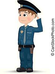vector., 警官, character., デザイン, テンプレート, イラスト, 漫画