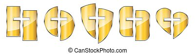vector., 金, キリスト教徒, -, セット, シンボル