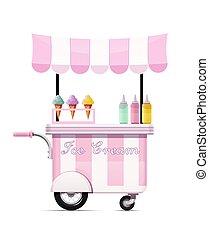 vector., 食物, shop., cart., 速い, モビール, bar., アイスクリーム, 軽食