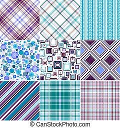 (vector, 10), eps, seamless, patrones, conjunto, blue-lilas