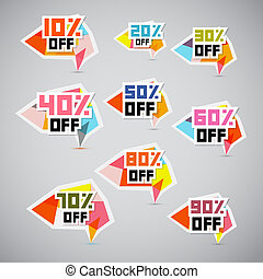 Vector 10% off, 20% off, 30% off, 40% off, 50% off, 60% off, 70% off, 80% off, 90% off, Stickers, Labels