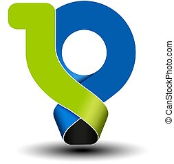 Vector 10 years anniversary, green blue number