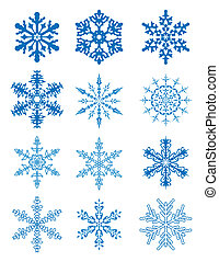 vector 12 snowflakes with separated parts
