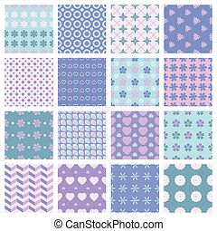vector 16 seamless spring patterns - vector set of 16...