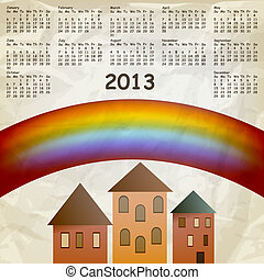 vector 2013 calendar on abstract background with rainbow and old houses, crumpled paper texture, eps 10, gradient mesh