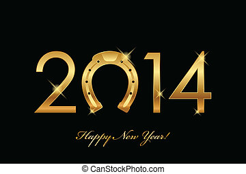 2014 background with gold horseshoe - vector 2014 background...