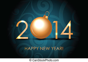 2014 Happy New Year blue background
