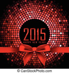 Vector 2015 background with red disco lights and ribbon