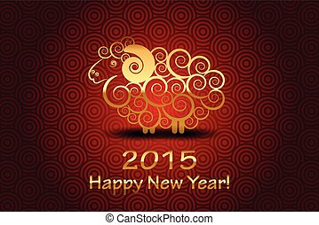 Vector 2015 Happy New Year background with sheep (Year of...