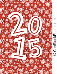 Vector 2015 Happy New Year background with snowflakes on red