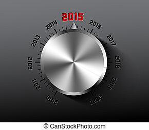 Vector 2015 New Year card with chrome knob