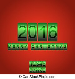 Vector 2016 New Year red green card odometer