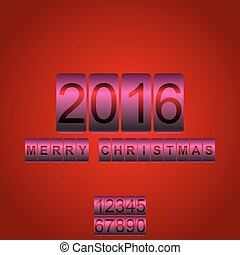 Vector 2016 New Year red pink card odometer