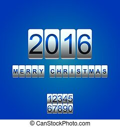 Vector 2016 New Year white blue card odometer