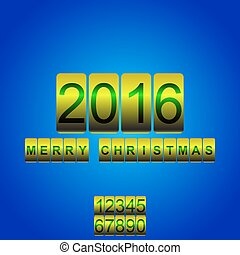 Vector 2016 New Year yellow blue card odometer