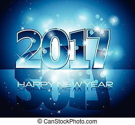 Vector 2017 Happy New Year background blue letters
