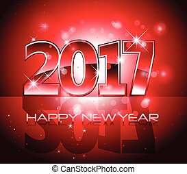 Vector 2017 Happy New Year background red letters