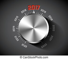 Vector 2017 New Year card for music lover with big volume...