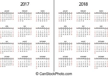 Vector 2017 year and 2018 calendar page. Simple monthly -...