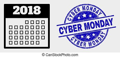 Vector 2018 Calendar Page Icon and Distress Cyber Monday Stamp
