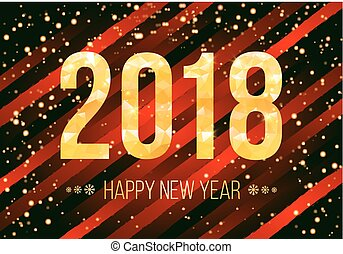 vector 2018 happy new year background golden numbers with confetti on black background