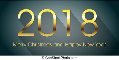 Vector 2018 happy new year card with gold text and long shadow