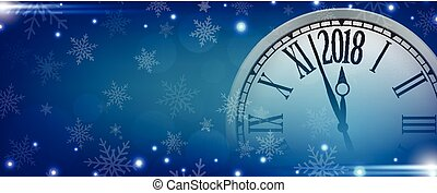 Vector 2018 Happy New Year with retro clock on blue snowflakes background