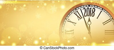 Vector 2018 Happy New Year with retro clock on  gold  snowflakes background