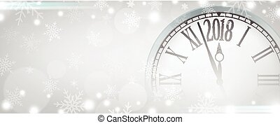 Vector 2018 Happy New Year with retro clock on gray snowflakes background