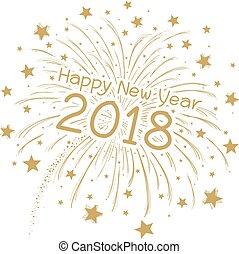 vector, 2018, plano de fondo, año, nuevo, blanco, fuego artificial, feliz