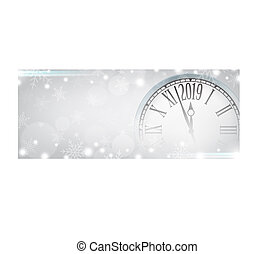 Vector 2019 Happy New Year with retro clock on gray snowflakes background